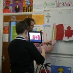 Student animating Canadian Flag